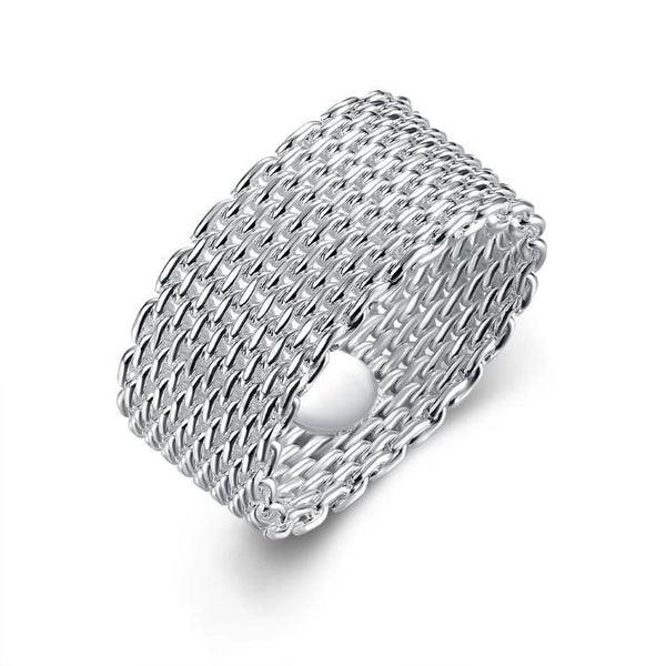 Ring Sterling Silver Plated Woven Mesh Ring - Mythical Kitty
