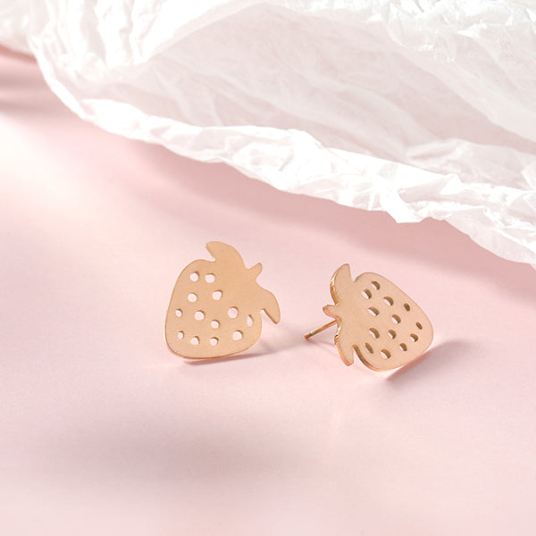 Stud Earrings Stainless Steel Strawberry Earrings - Mythical Kitty