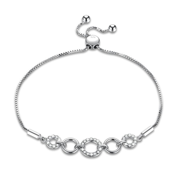 Bracelet 4 Circle Pave Sterling Silver Bracelet - Mythical Kitty