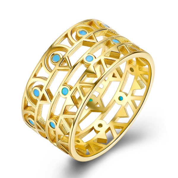 Statement Rings S925 Gold + Turquoise Statement Ring - Mythical Kitty