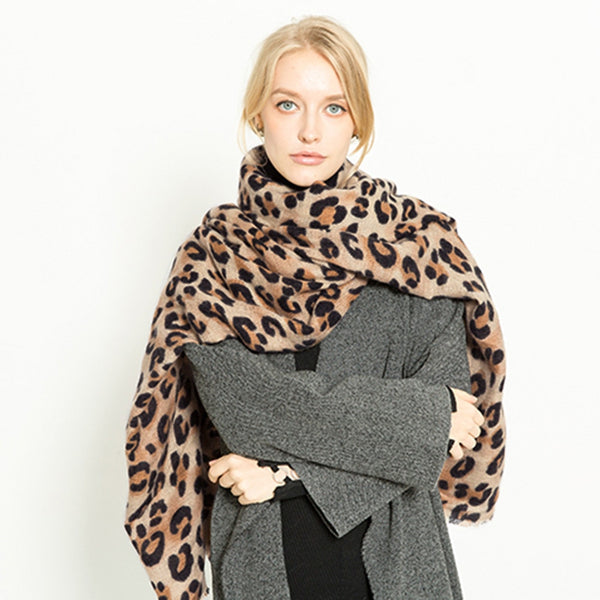 Scarves Oversized Faux Cashmere Leopard Pashmina - Mythical Kitty