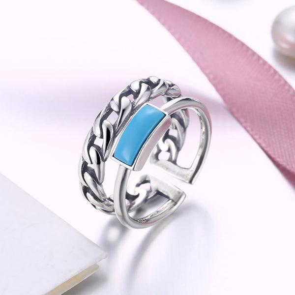 Adjustable Rings S925 Turquoise Double Opening Ring - Mythical Kitty