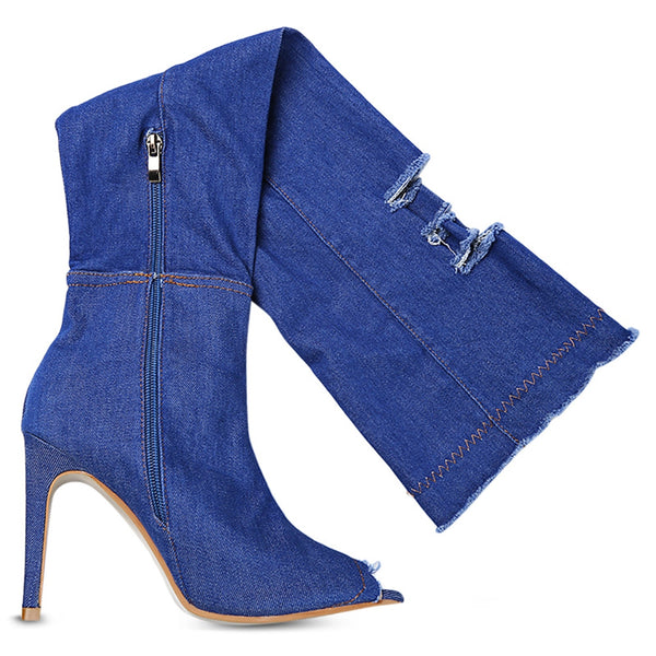 Boots Frayed Denim Over-the-Knee Boots - Mythical Kitty