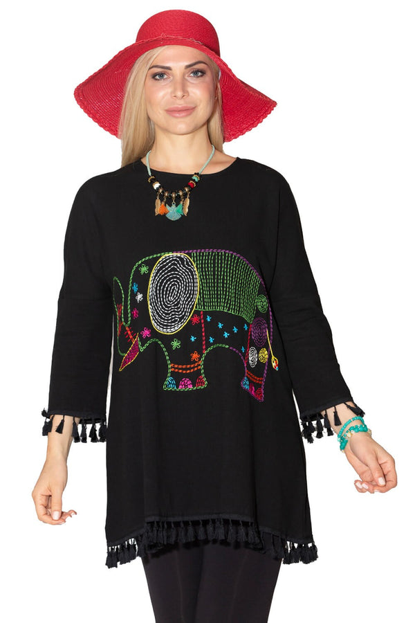 Tunic Tops Embroidered Black Tunic - Mythical Kitty