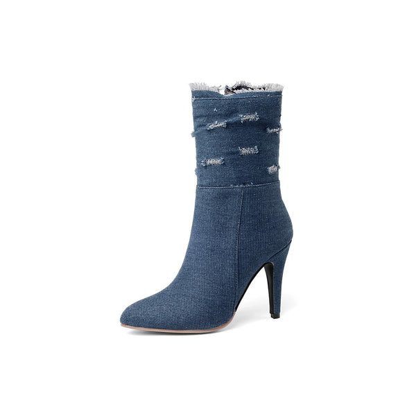 Boots Denim Mid-Calf Boots - Mythical Kitty