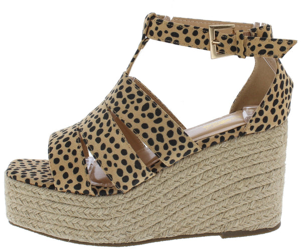 Wedge Sandals Cheetah Espadrille Wedge Sandals - Mythical Kitty
