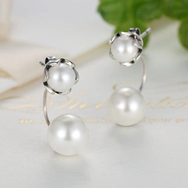 Drop Earrings 925 Sterling Silver Pearl Drop Earrings - Mythical Kitty