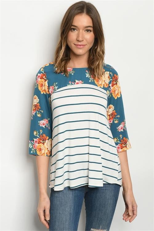Half Sleeve Tops Blue Floral Striped Top - Mythical Kitty