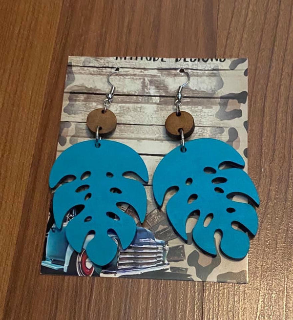 Statement Earrings Wooden Monstera Leaf Earrings - Mythical Kitty