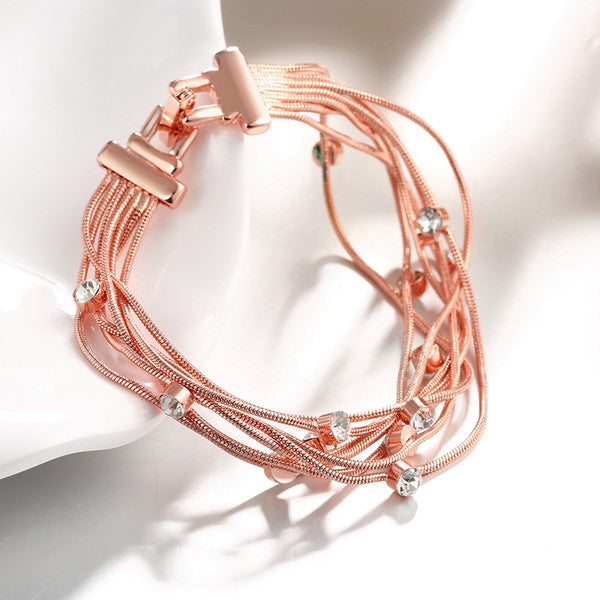Bracelet 18K Rose Gold Multi-Strand Bracelet - Mythical Kitty