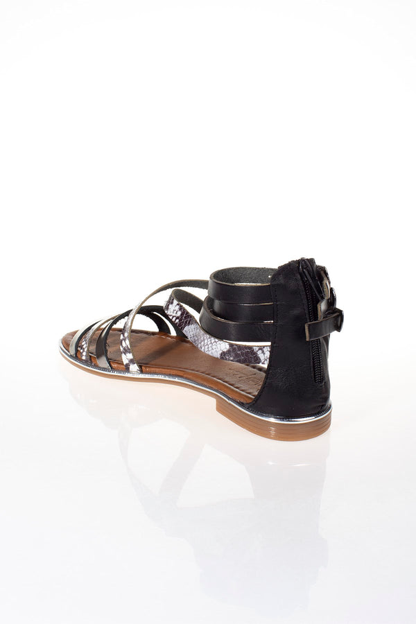 Snake Pattern Black Leather Sandals - Mythical Kitty