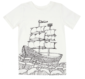 Lochie T-Shirt -Outline Ship Off White