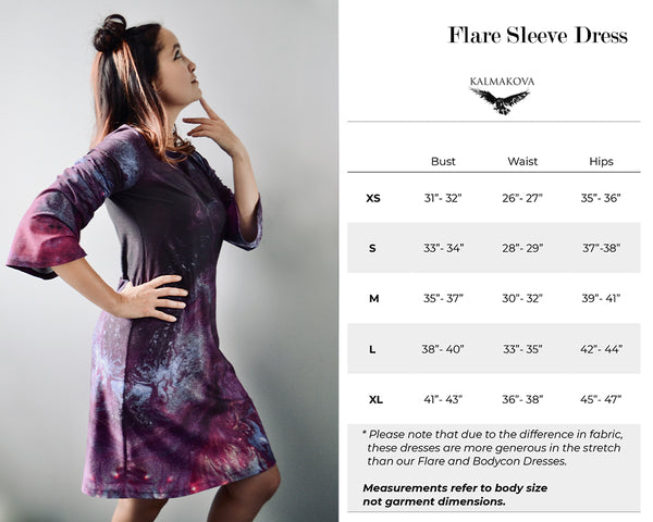 Flare Sleeve Dress Size Guide