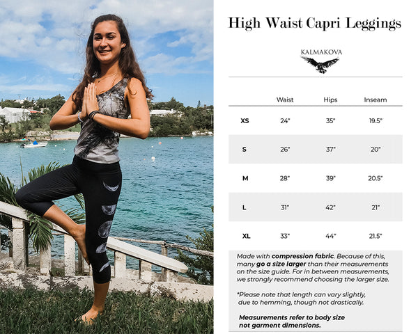 High Waist Capri Leggings Size Guide