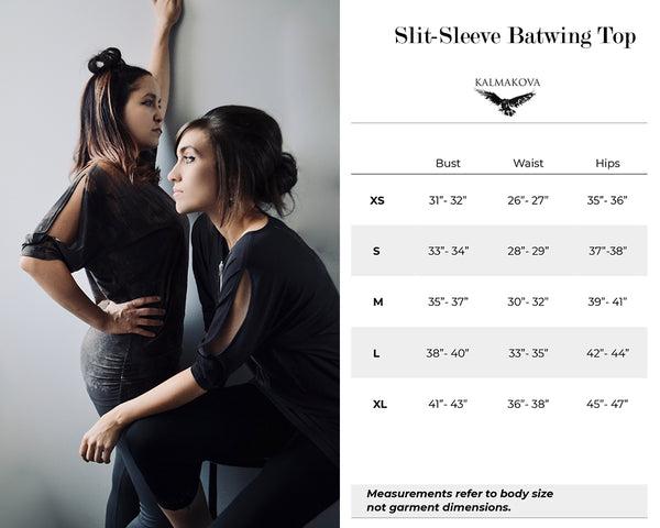 Slit-Sleeve Batwing Top Size Guide