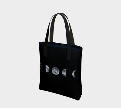 Black and white moon phases print canvas tote with vegan leather straps