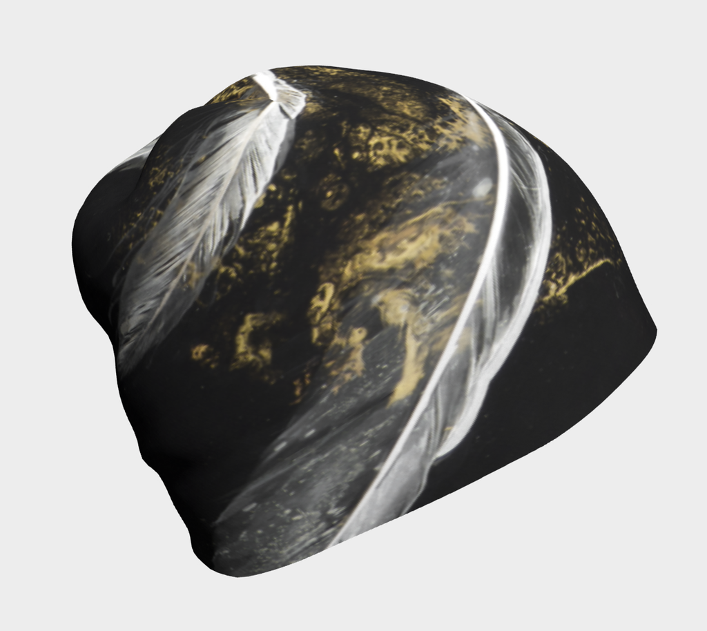 Alchemy black with white feathers and gold dust beanie toque