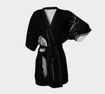 Silver Sage Short Robe by Kalmakova, black kimono robe with feather full moon silver twigs