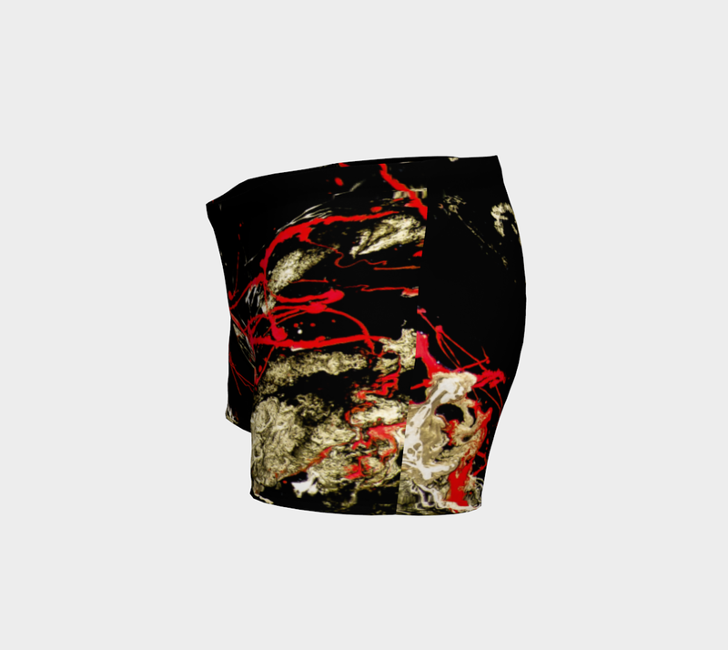Dramatic black, red and gold abstract art print athletic shorts, statement piece