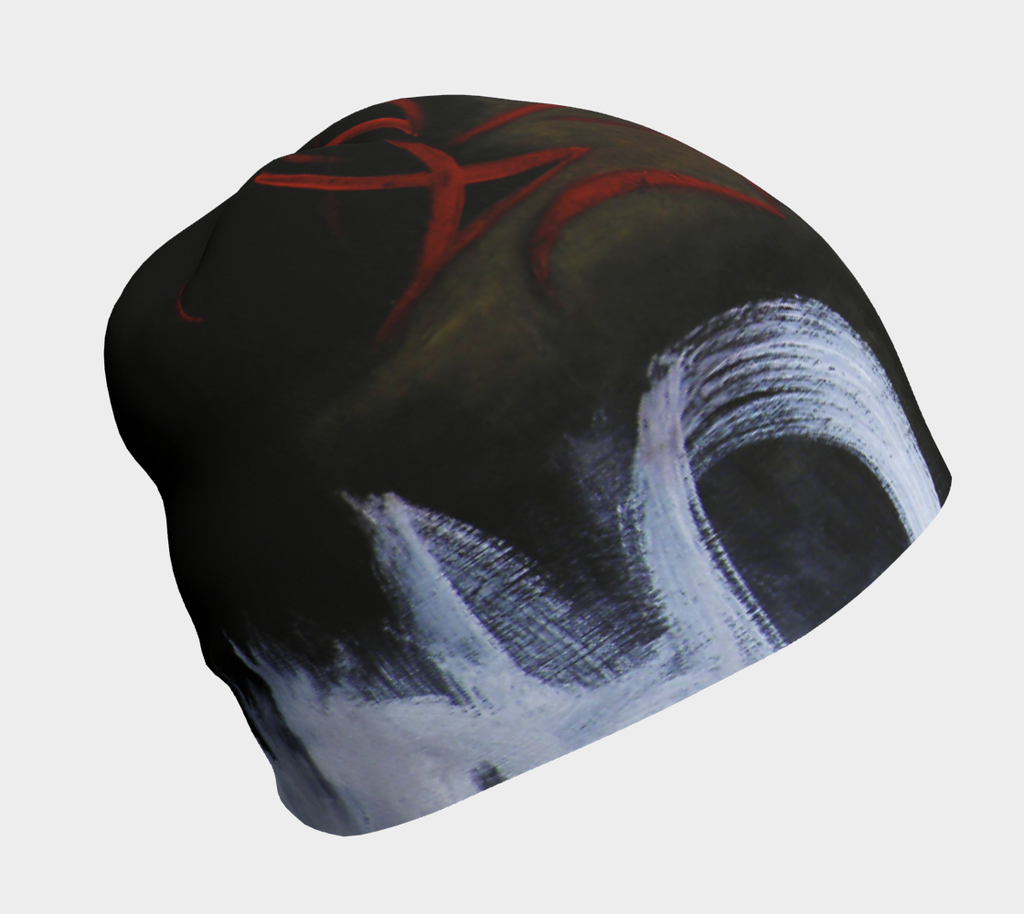 abstract urban graffiti red black and white beanie toque