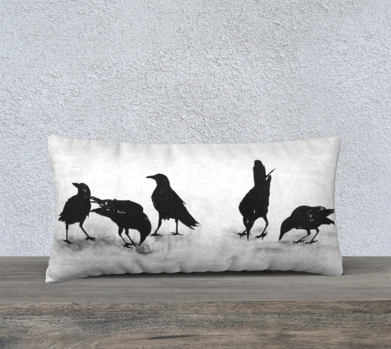 "Crows XVIII 24"" x 12"" Pillow Cover"
