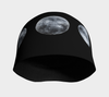 Black and white moon phases print lightweight beanie hat
