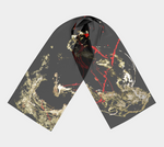 Dramatic black, red and gold abstract art print silky long scarf