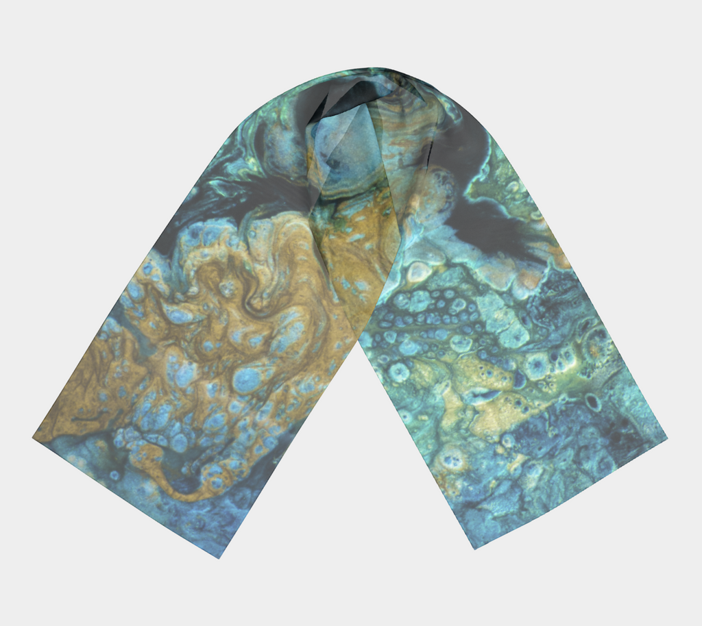gold turquoise abstract Canadian artist scarf