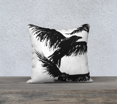 "Crows XVII 18"" x 18"" Pillow Cover"