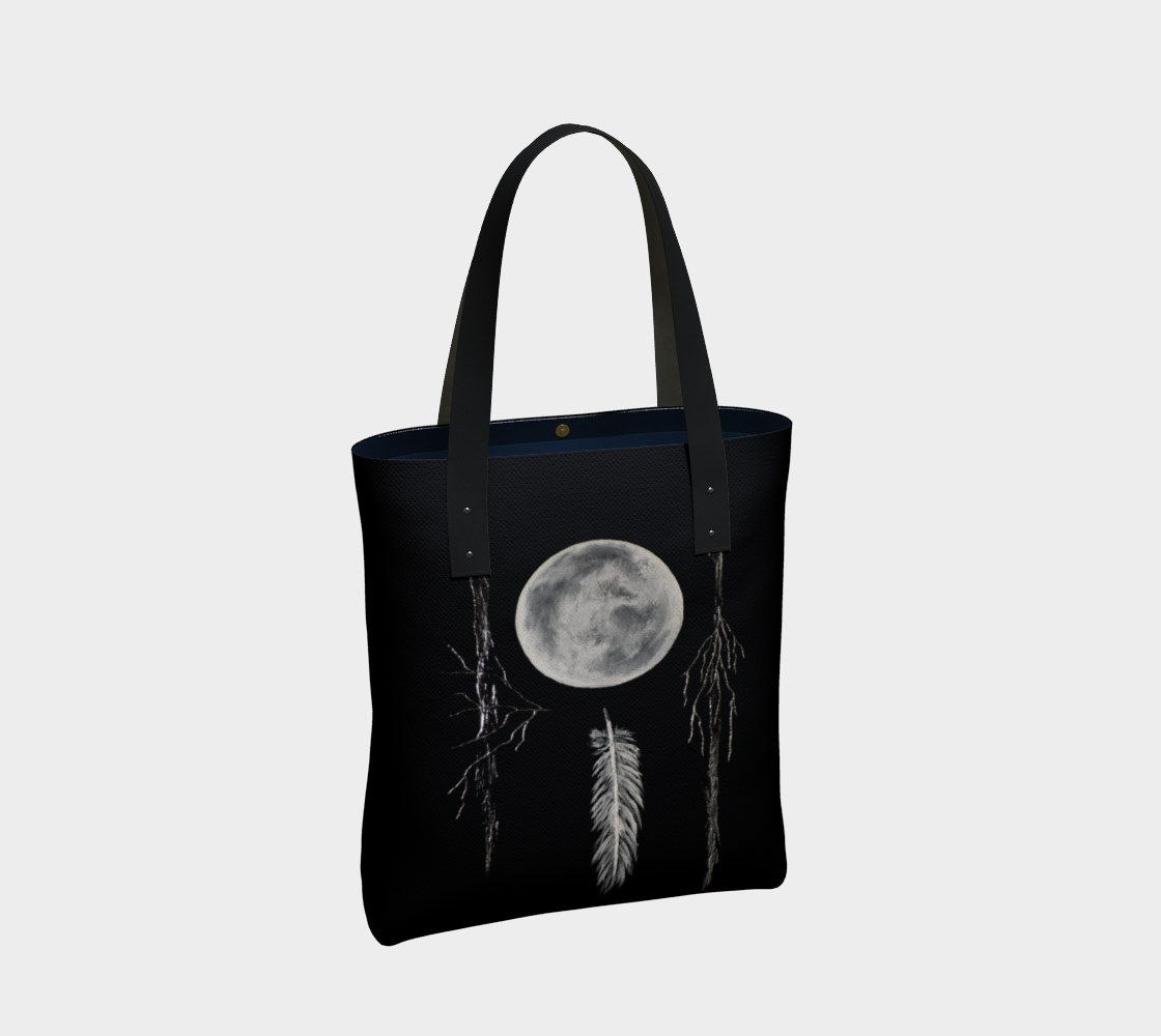 Black and white moon and feather print canvas tote with vegan leather straps
