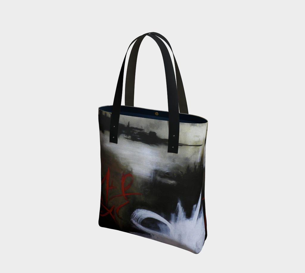 Kalmakova Tote, abstract graffiti design, lined with magnetic closure black with vegan leather straps