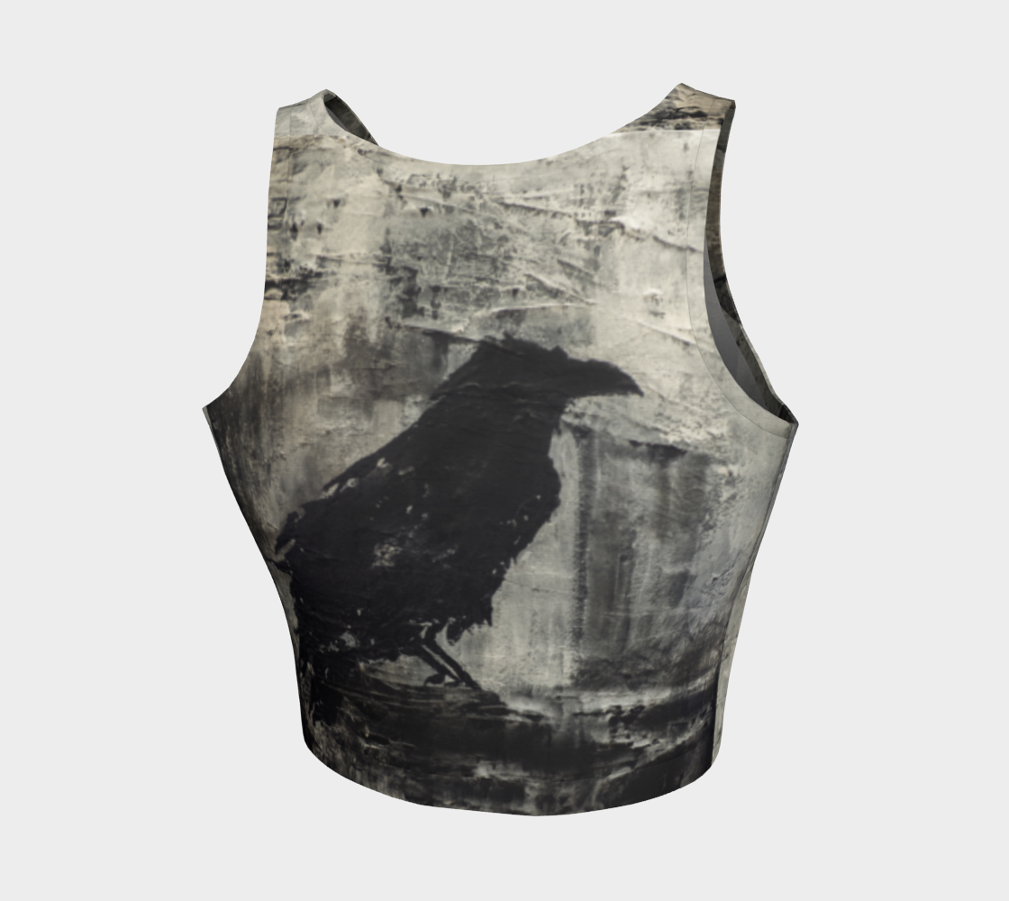 Raven silhouette athletic crop top in earthy tones, Canadian artist