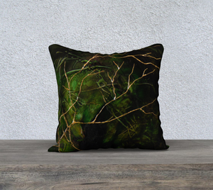 Emerald green with gold branches designer pillow case, elvish twin, elven woodlands, zelda, home decor