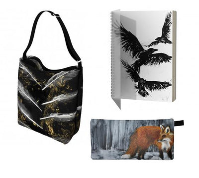 Nature print tote bag, pencil case and sketchbook