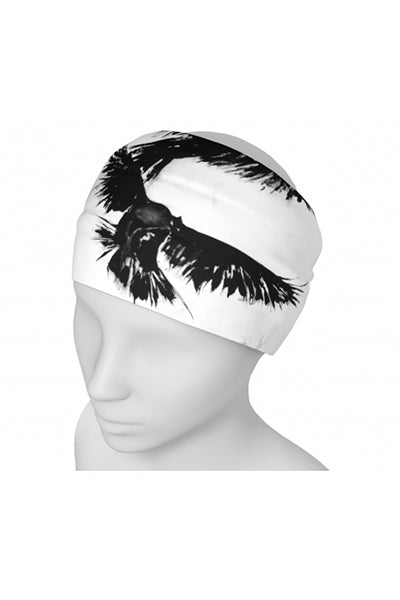 Black and white raven print wide headband