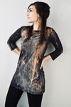 Hazel brown, rust orange and teal long sleeve tunic, 3/4 sleeve boat neck top, abstract print tunic