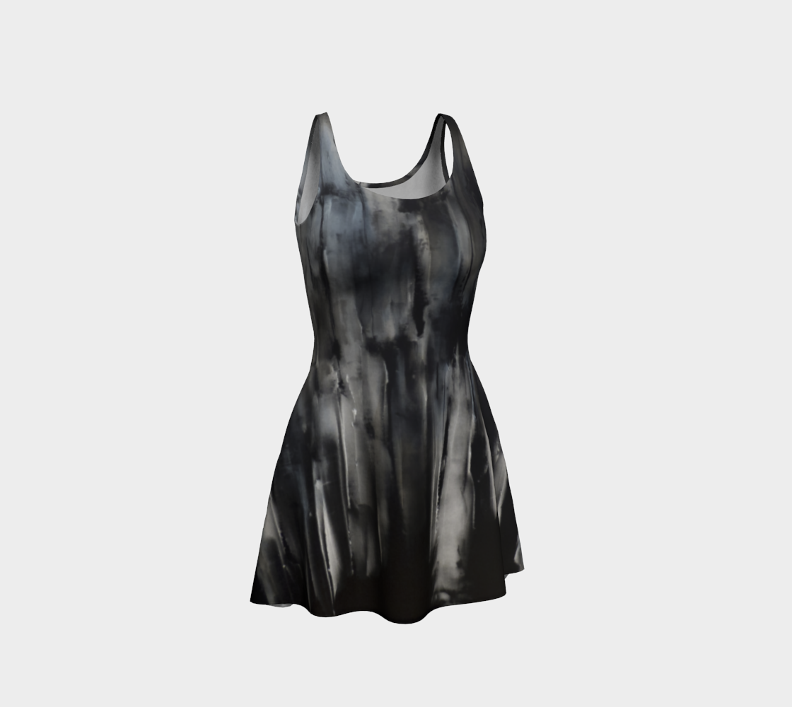 Grey black blue abstract print fit n flare dress