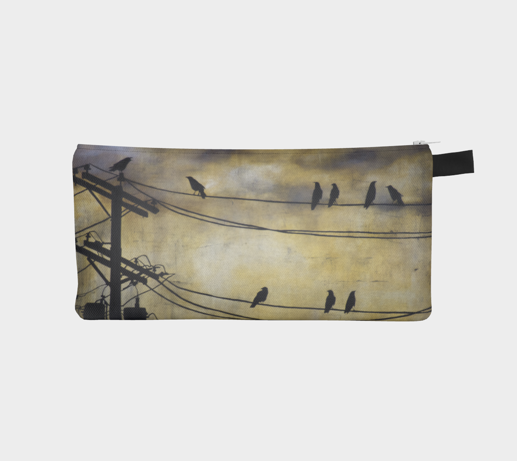 Kalmakova pencil case, crows, birds, powerlines