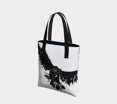 Black and white raven print canvas tote with vegan leather straps