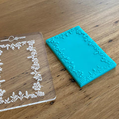 floral rectangle cookie stamp, deboss, pop stamp, cookie cutter store
