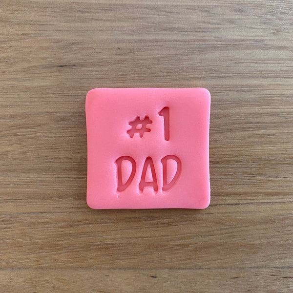 Number 1 #1 Dad Style #1 Font Emboss Stamp