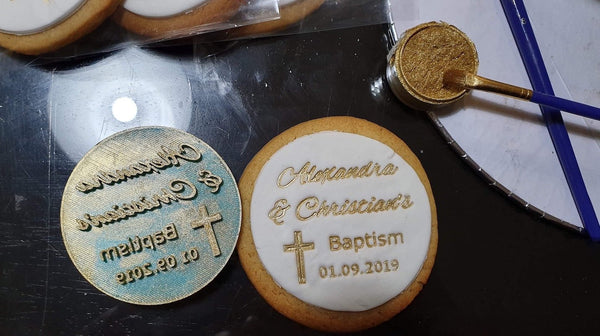 Custom Baptism Stamp upto 70mm. Just specify your design, name and date.   We can customise any design to help you make what you need: names, dates, ages, logo, sporting teams, you name it and we could be shipping your cutter to you within 24 hours. Just ask us now!