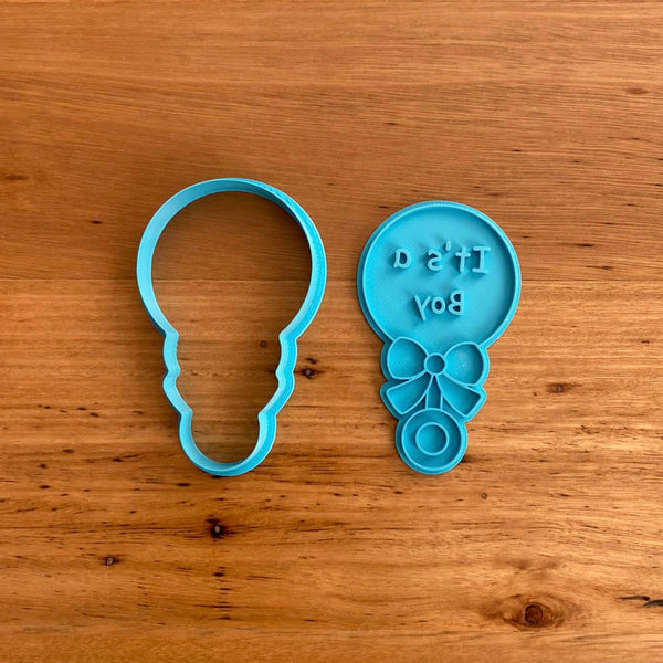 Baby Rattle Cookie Cutter & Stamp - It's a Boy