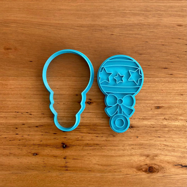 Baby Rattle Cookie Cutter & Stamp - Star Pattern