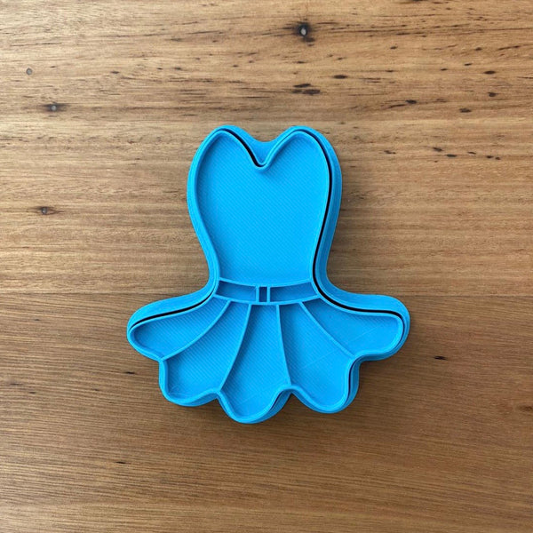 Ballet dress style #2 Cookie Cutter & Optional Stamp measures approx. 95mm tall by 85mm wide  Please see our other Ballet dress style available and our other Ballet themed cookie cutters, search for