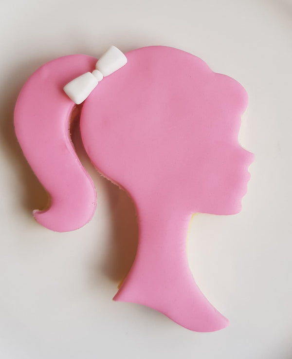 Barbie Head Cookie Cutter measures approx. 80mm tall by 70mm wide.  A perfect design to decorate your Barbie Cookies any way you can imagine!