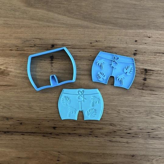 Beach Board Shorts Cookie Cutter and Optional Stam
