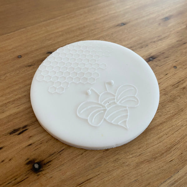 Bee with honeycomb Design Deboss Raised Effect Stamp