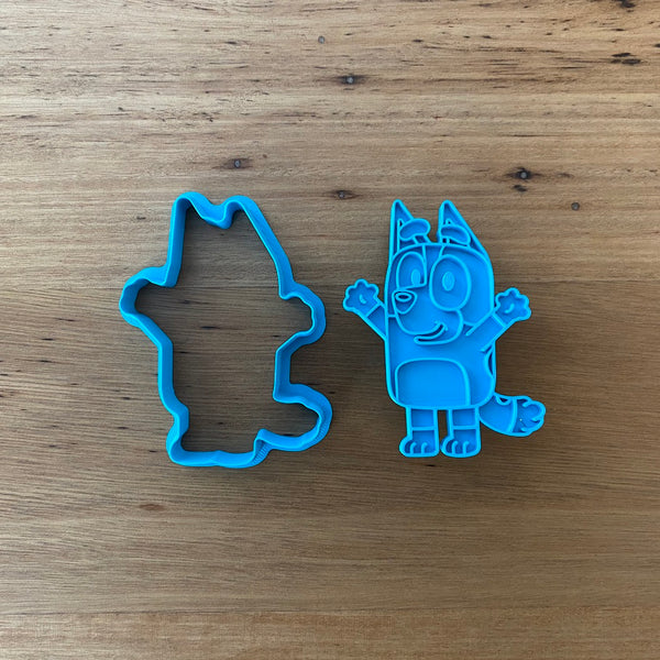 "Bingo 2 piece Cookie Cutter and Fondant Stamp measures approx. 77mm tall by 60mm wide. Bluey, Mum and Dad are also available - see our other listing!  Also, don't miss our other Kids themed cookie cutters, search for ""Kids"" in our search bar."