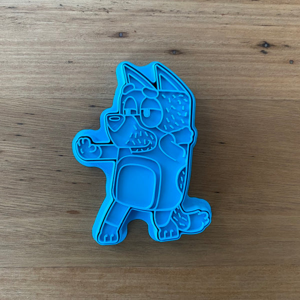 "Bluey's Dad ""Bandit"" 2 piece Cookie Cutter and Fondant Stamp measures approx. 100mm tall by 75mm wide. Bluey, Bingo and Mum are also available - see our other listings!  Also, don't miss our other Kids themed cookie cutters, search for"